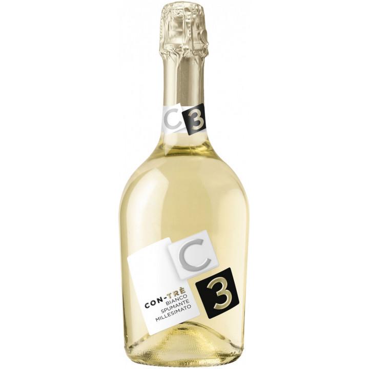 """Игристое вино Contarini, """"Con-Tre"""" Bianco Spumante Millesimato Extra Dry"""