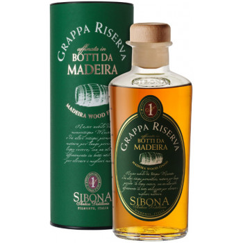 Граппа Sibona, Grappa Riserva Madeira Wood Finish, in tube, 0.5 л